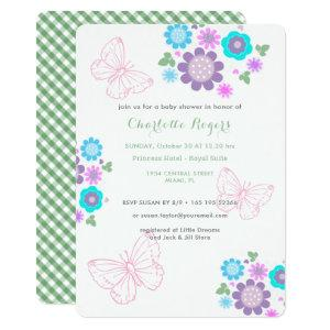 Pretty Pastel Butterflies Floral Posy Baby Shower Invitation
