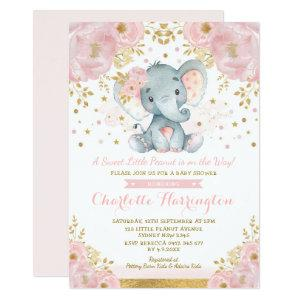 Pretty Pink and Gold Elephant Baby Shower Invitation