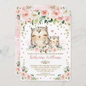Pretty Pink Blush Floral Owl Girl Baby Shower Invitation