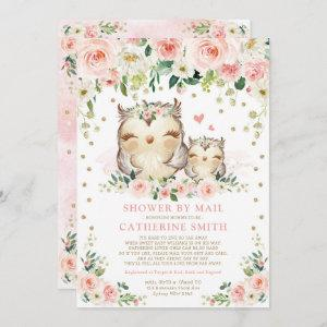 Pretty Pink & Gold Owl Girl Baby Shower By Mail Invitation
