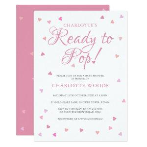 Pretty Pink Love Hearts Ready to Pop Baby Shower Invitation