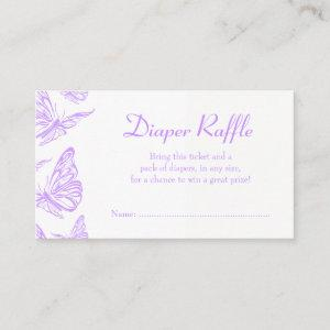 Pretty Purple Butterfly Diaper Raffle Ticket Enclosure Card