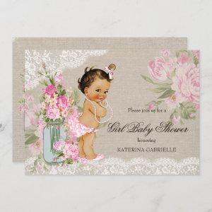 Pretty Shabby Chic Lace Floral Baby Shower Invitation