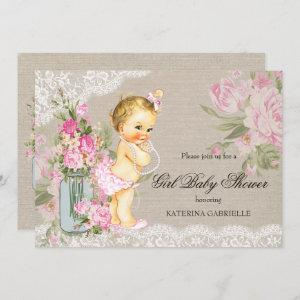 Pretty Shabby Lace Floral Girl Baby Shower Blonde Invitation