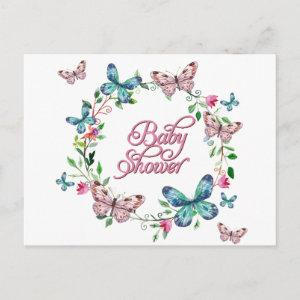 PRETTY SPRING FLORAL BUTTERFLY WREATH BABY SHOWER INVITATION POSTCARD