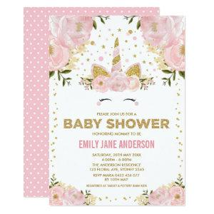 Pretty Unicorn Girl Baby Shower Pink Gold Floral Invitation