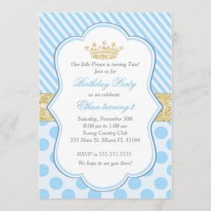 Prince Birthday Party Invitation Blue Gold Glitter