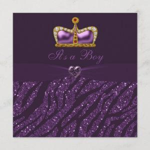 Prince Crown, Heart & Zebra Glitter Baby Shower Invitation