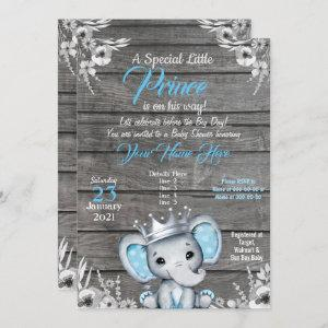 Prince Elephant Baby Shower  Silver Blue