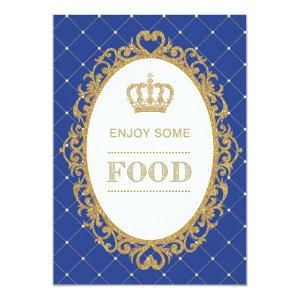 Prince Food Sign Royal Blue Gold Baby Shower Decor Invitation