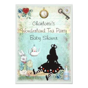 Princess Alice in Wonderland Tea Party Baby Shower Invitation