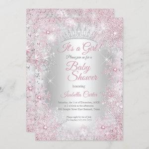 Princess Baby Shower Blush Pink Winter Wonderland Invitation