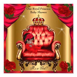 Princess Baby Shower Girl Gold Red Rose Chair 5 Invitation