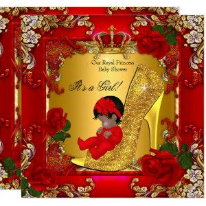 Princess Baby Shower Girl Gold Red Rose Hi Heel Invitation