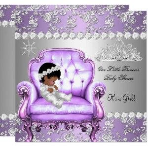Princess Baby Shower Girl Lavender Silver Chair Invitation
