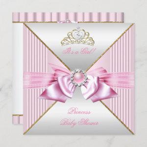 Princess Baby Shower Girl Pink Pearl Gold White 3