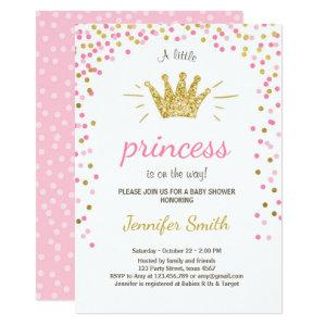 Princess Baby Shower Invitation Pink Gold Glitter