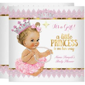 Princess Baby Shower Pink Gold Blonde Girl Invitation