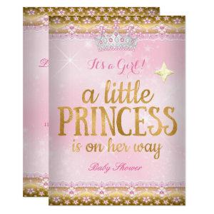 Princess Baby Shower Pink Gold Foil Lace Tiara Invitation