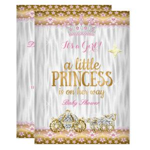 Princess Baby Shower Pink Gold White Carriage Invitation