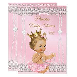 Princess Baby Shower Pink pearl lace blonde Invitation