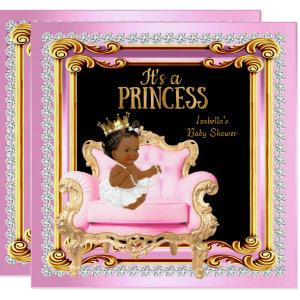 Princess Baby Shower Silver Pink Gold Chair Ethnic Invitation