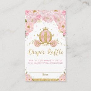 Princess Carriage Floral Baby Shower Diaper Raffle Enclosure Card