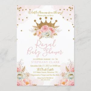 Princess Floral Pink & Gold Baby Shower Invitation