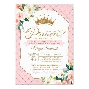 Princess Gold Glitter Crown & Floral Baby Shower Invitation
