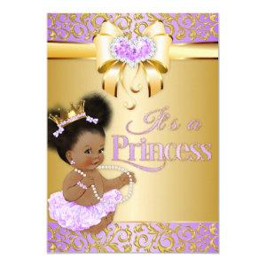 Princess  Lilac & Gold Diamond African American Invitation