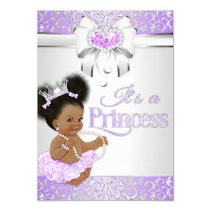 Princess  Lilac & Silver Diamond African American Invitation