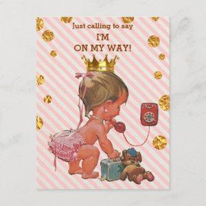 Princess On Phone Stripes Gold Spots Baby Shower Invitation