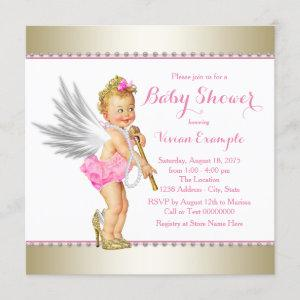 Princess Pearl Pink Gold Angel Girl Baby Shower Invitation