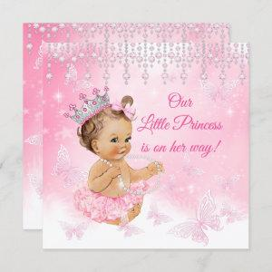 Princess Pink Butterfly Baby Shower brunette Invitation