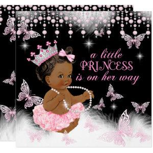 Princess Pink Butterfly Baby Shower Ethnic Invitation