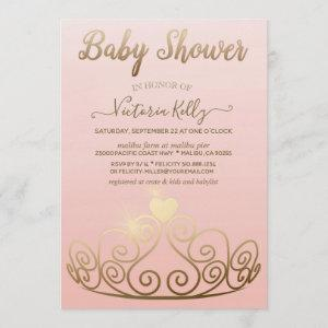 Princess Tiara Pink Gold Sparkle Girl Baby Shower Invitation