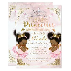 Princess Tutu Crown Ethnic Twin Girls Baby Shower Invitation