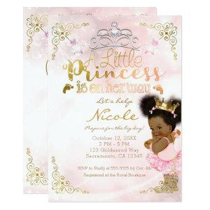 Princess Tutu & Gold Crown Ethnic Baby Girl Shower Invitation