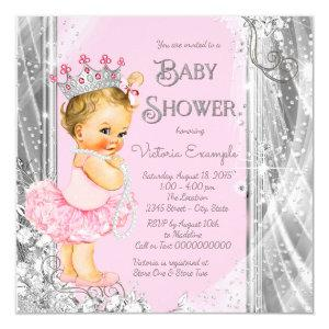 Princess Tutu Pink Silver Baby Shower Invitation