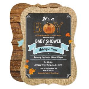 Pumpkin baby shower invitation rustic wood chalk