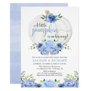 Pumpkin couples baby shower, fall blue greenery invitation