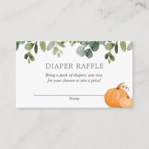 Pumpkin fall baby shower diaper raffle cards