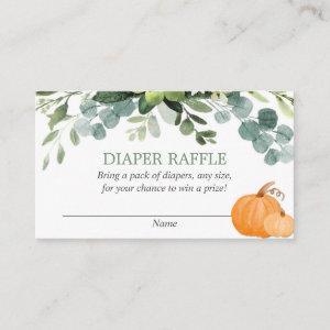 Pumpkin greenery baby shower diaper raffle cards