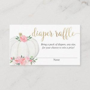 Pumpkin pink gold elegant fall diaper raffle cards