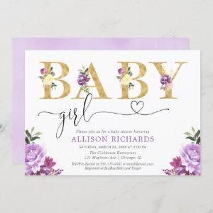 Purple and gold faux foil floral Girl baby shower Invitation