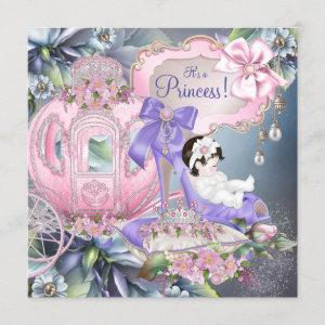 Purple and Pink Princess Baby Shower Invitation