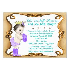 Purple and Teal Cowgirl Princess Baby Shower Invitation