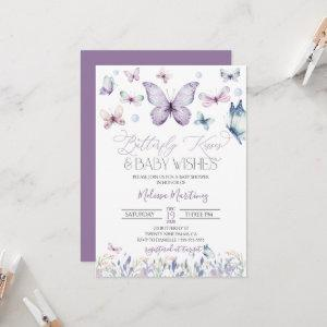 Purple Butterfly Baby Girl Baby Shower Invitation