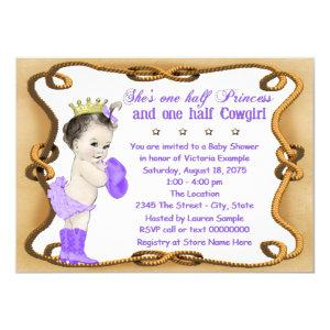 Purple Cowgirl Princess Baby Shower Invitation