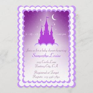 Purple Dreamy Castle In The Clouds Baby Shower Invitation